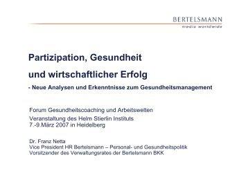 Partizipation, Gesundheit und wirtschaftlicher Erfolg - Helm Stierlin ...