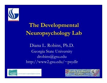 Communication disorders neuropsychology the developmental neuropsychology lab diana l robins fandeluxe Image collections