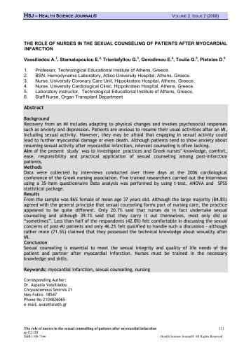 he role of nurses in the sexual counseling of patients after ...