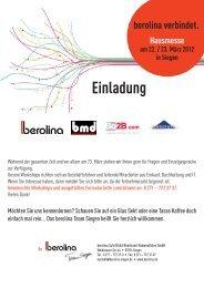 berolina verbindet - Hausmesse am 22. / 23. März in - bmd Gmbh