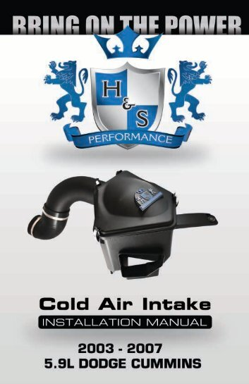 Lml/lmm cold air intake instruction manual h&s performance.