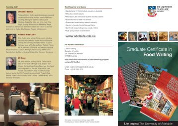 Graduate Certificate in Food Writing - The University of Adelaide