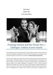 Framing Cinema and the Visual Arts / Cadrages: cinéma et arts visuels