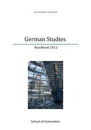German Studies - Faculty of Humanities & Social Sciences - The ...