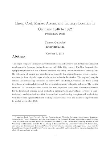 Cheap Coal, Market Access, and Industry Location in ... - iSites
