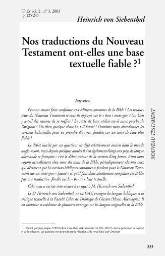 Nos traductions du Nouveau Testament ont-elles une base textuelle ...