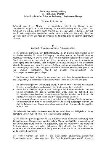 Einstufungsprüfungsordnung der Hochschule Wismar University of ...