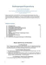 SPO Optimierung und Simulation - Fachhochschule Bielefeld