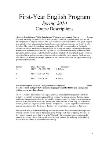 First-Year English Program - College of Humanities and Social ...