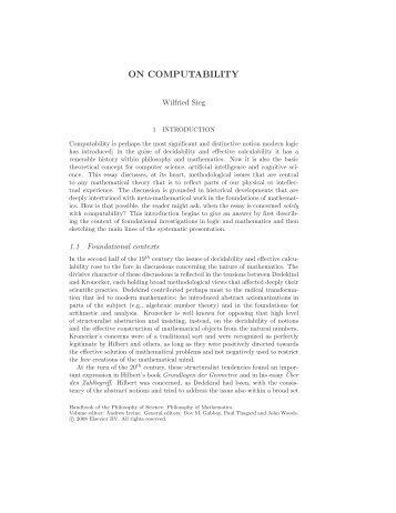 ON COMPUTABILITY - Carnegie Mellon University