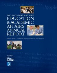 2009 Education & Academic Affairs Annual Report - Hospital for ...