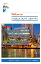 Welcome! Neighborhood Directory - Hospital for Special Surgery