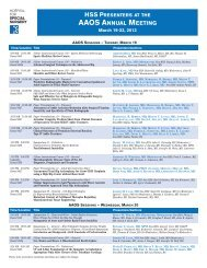 AAOS ANNUAL MEETING - Hospital for Special Surgery