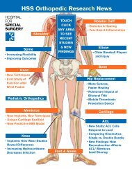 HSS Orthopedic Research News - Hospital for Special Surgery