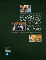 education & academic affairs annual report - Hospital for Special ...