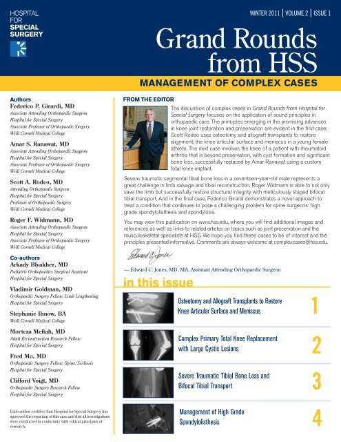 Grand Rounds from HSS - Hospital for Special Surgery