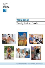 Welcome! Family Atrium Guide - Hospital for Special Surgery
