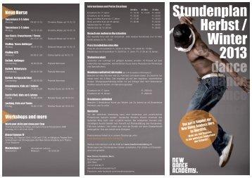 Stundenplan Herbst / 2013 Winter - New Dance Academy