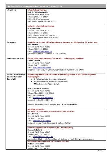 Kontaktübersicht zum Download (Stand: Okt. 2013) - Fachbereich 12