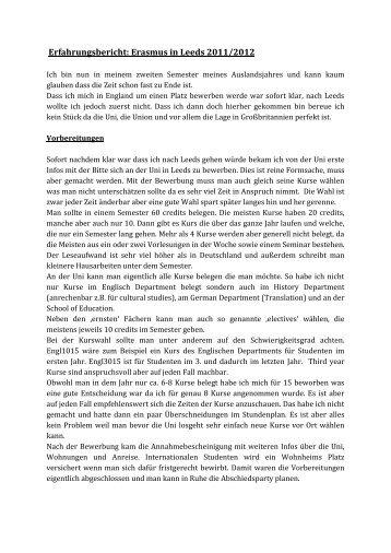 Erfahrungsbericht: Erasmus in Leeds 2011/2012