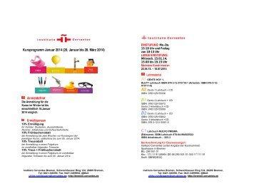 BORRADOR CURSOS INVIERNO 2014 - Instituto Cervantes Bremen