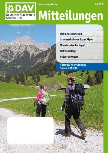 Mitteilungsheft 2/2013 - Herzlich Willkommen beim DAV Ulm