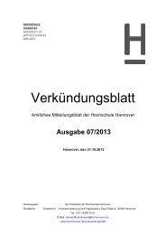 Verkündungsblatt - Hochschule Hannover