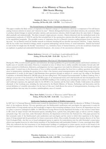 Abstracts of the History of Science Society 2004 Austin Meeting 18 ...