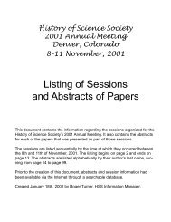 Listing of Sessions and Abstracts of Papers - History of Science ...
