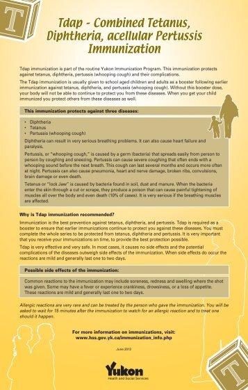 Tdap – Combined Tetanus, Diphtheria, acellular Pertussis ...
