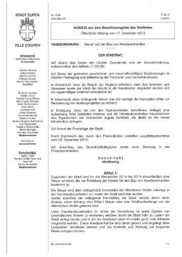 Steuer auf den Bau von Abwässerkanälen - Stadt Eupen