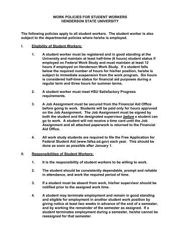 Work Policy for Student Workers - Henderson State University