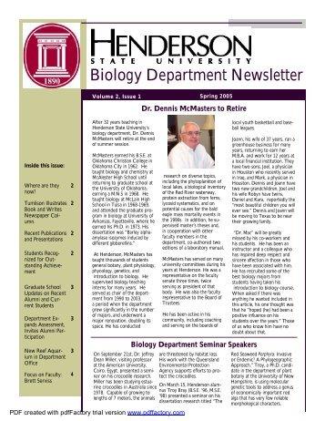 Biology Department Newsletter Volume 2, Issue 1 Spring 2005