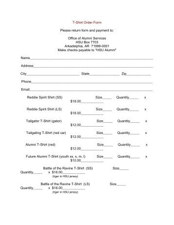T Shirt Order Form Please Return Form And Payment To: Office Of .