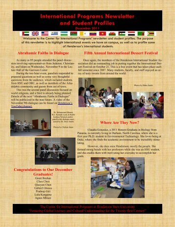 December 2011 Newsletter - Henderson State University
