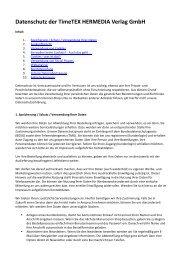 Datenschutzerklärung speichern - TimeTEX