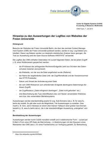 Hinweise zu den Auswertungen der Logfiles von Websites ... - CeDiS