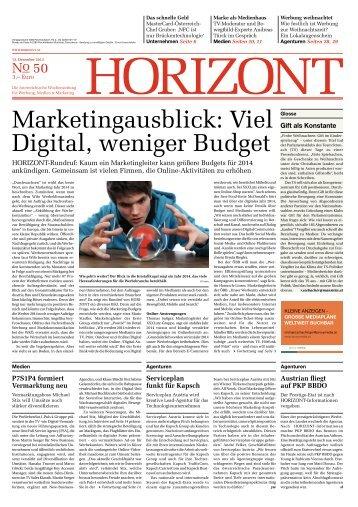 Marketingausblick: Viel Digital, weniger Budget - Horizont