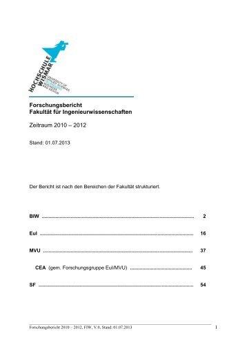Forschungsbericht der Fakultät für Ingenieurwissenschaften 2010
