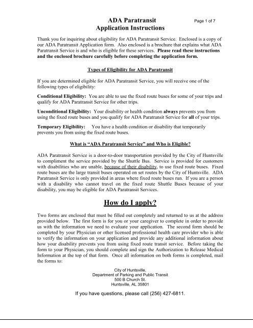 ADA Paratransit service application - City of Huntsville