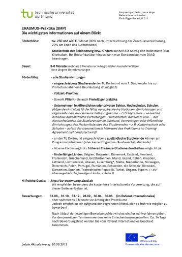 Allgemeine Informationen und FAQs - Referat Internationales - TU ...