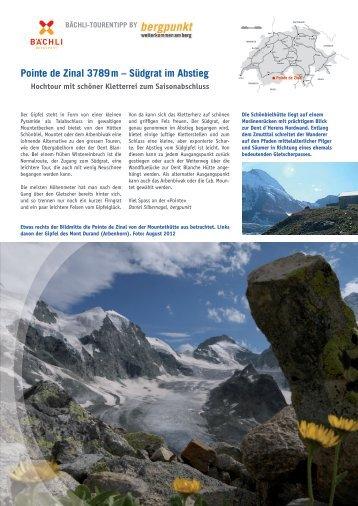 pointe de Zinal 3789 m – Südgrat im Abstieg - Bergpunkt