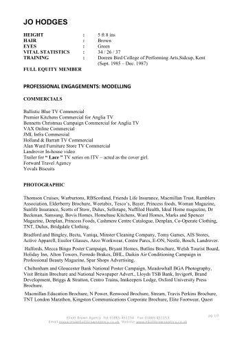 JO HODGES - Elliott Brown Agency