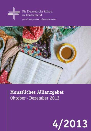 Gebetsheft 4. Quartal 2013 - Deutsche Evangelische Allianz