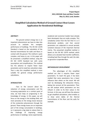 Simplified Calculation Method of Ground Contact Heat Losses ...