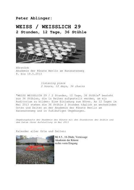 WEISS / WEISSLICH 29 - Akademie der Künste