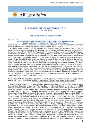 KULTURKALENDER DEZEMBER 2013 - Embajada de la República ...