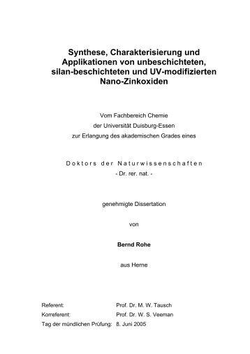 Synthese, Charakterisierung und Applikationen von unbeschichteten
