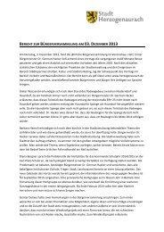 Bericht der Bürgerversammlung - Stadt Herzogenaurach