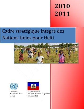 Cadre stratégique intégré des Nations Unies pour Haïti - UN Haiti